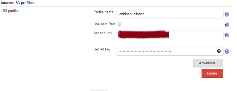 Amazon S3 profiles with profile name, access key, and secret key fields completed