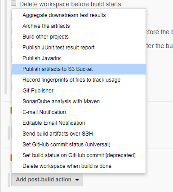option for publish artifacts to S3 bucket