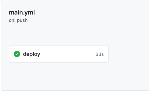 main.yml, on: push, deploy is checked in green