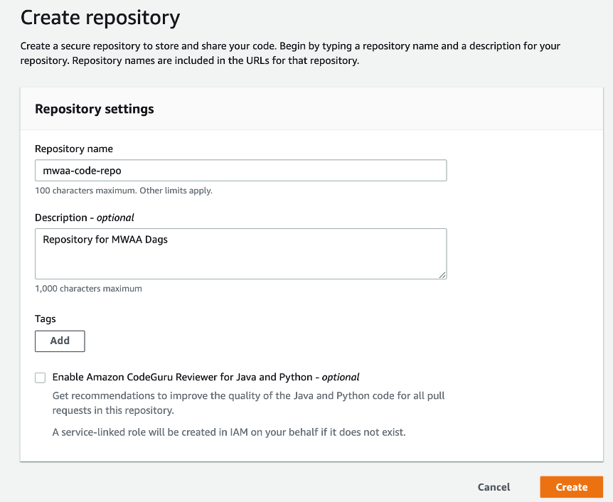 code repository with repository name mwaa-code-repo and a description
