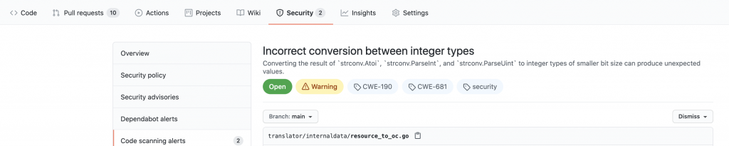example of an alert: message says incorrect conversion between interger types