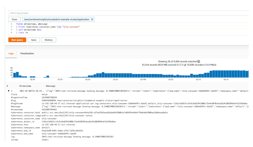 CloudWatch Logs Insights query results.