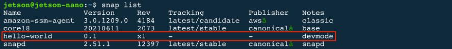 Snap listed on robot's filesystem