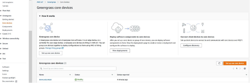 Figure 3: Greengrass Core device status from the AWS IoT Greengrass console in your specified AWS Region.