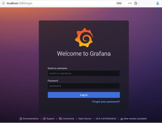 Figure 5: Grafana login page, which says Welcome to Grafana and requires log in.