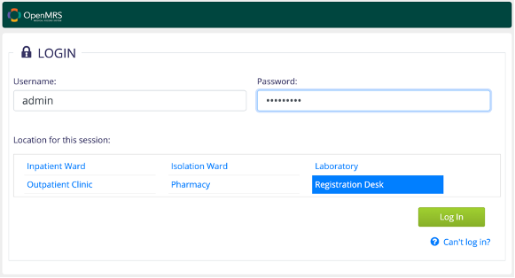 Figure 7: OpenMRS login page after deployment of OpenMRS Reference Application.