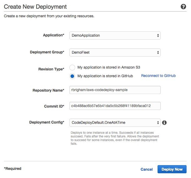 AWS CodeDeploy form