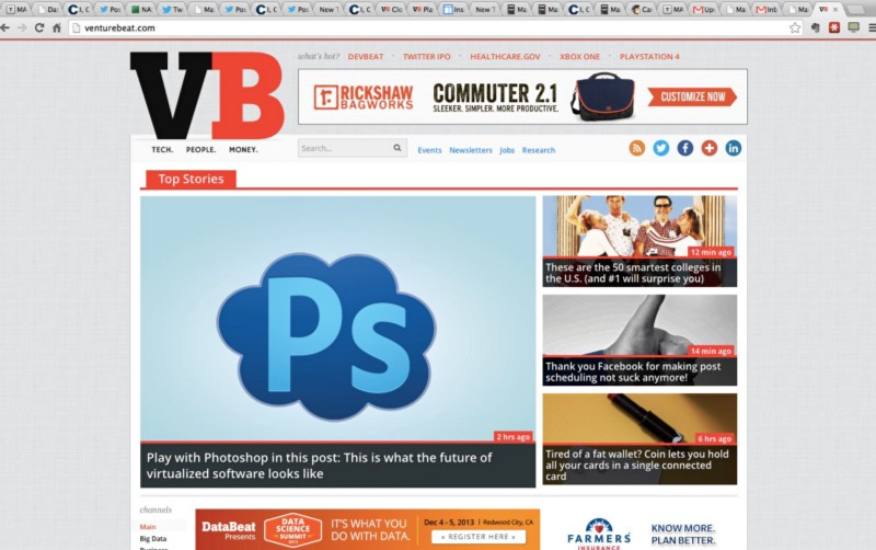 VentureBeat front page, November 14, 2013.