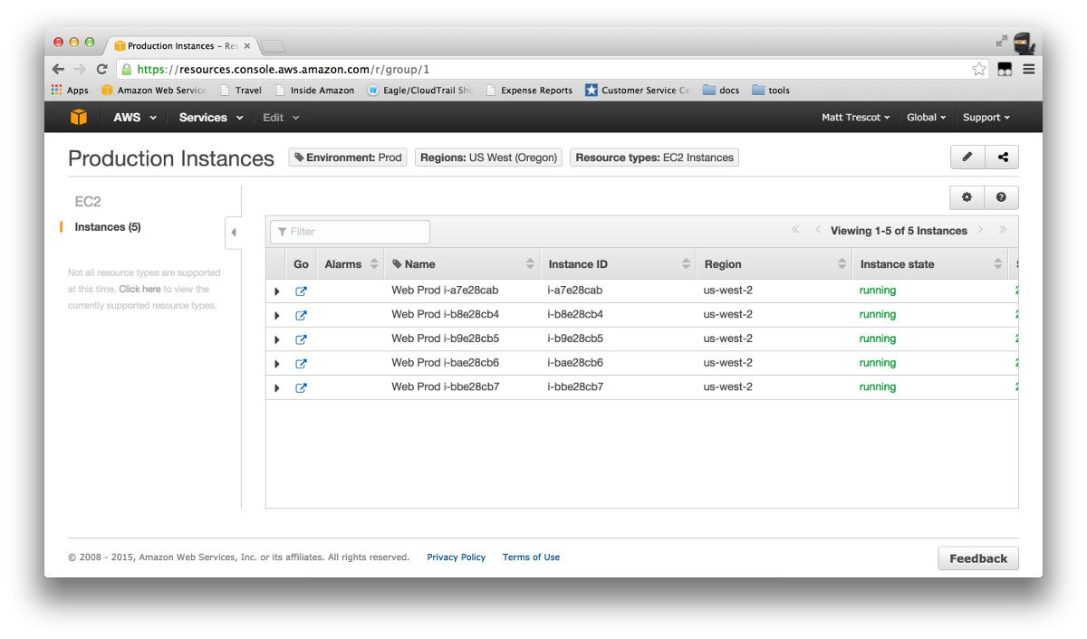 resource groups in AWS management console