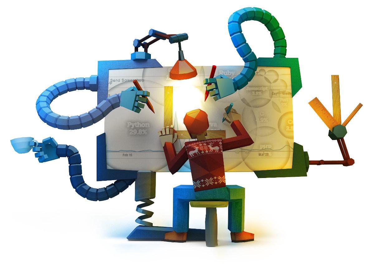 Programmer getting help from machine hands