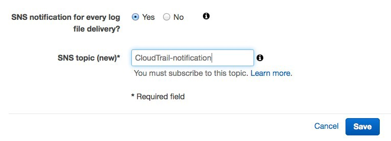 Cloudtrail notification setting