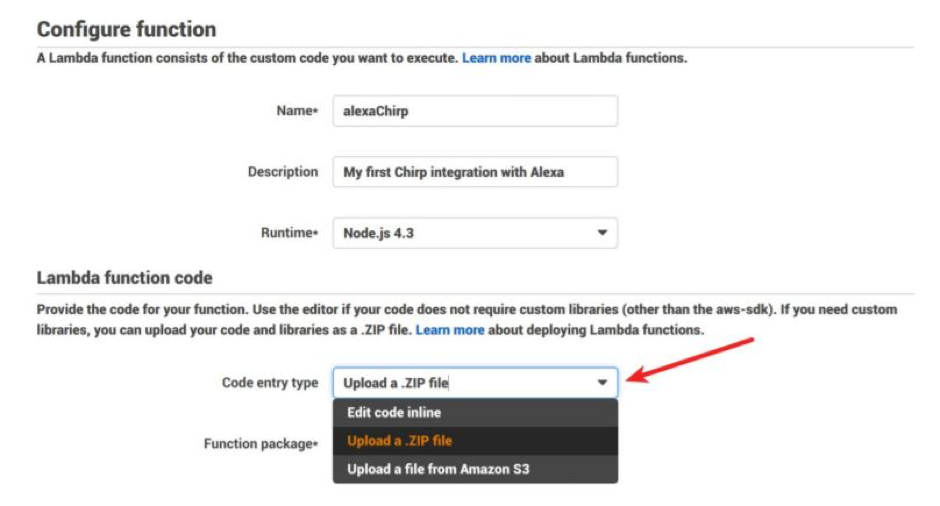archive and upload files to AWS by choosing Upload a .ZIP file