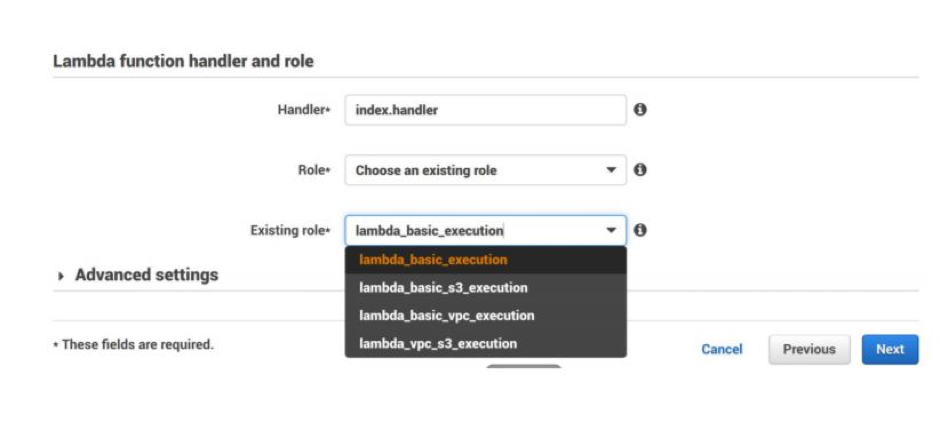 configure the function handler and execution method.