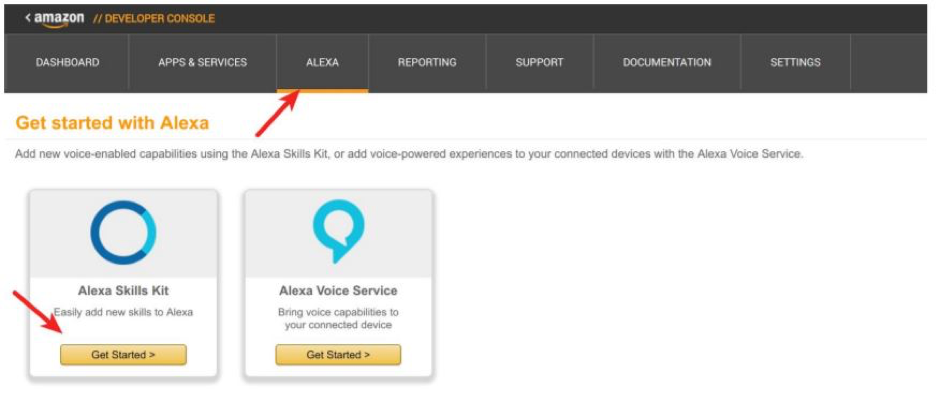 Step 1 of creating an Alexa skill