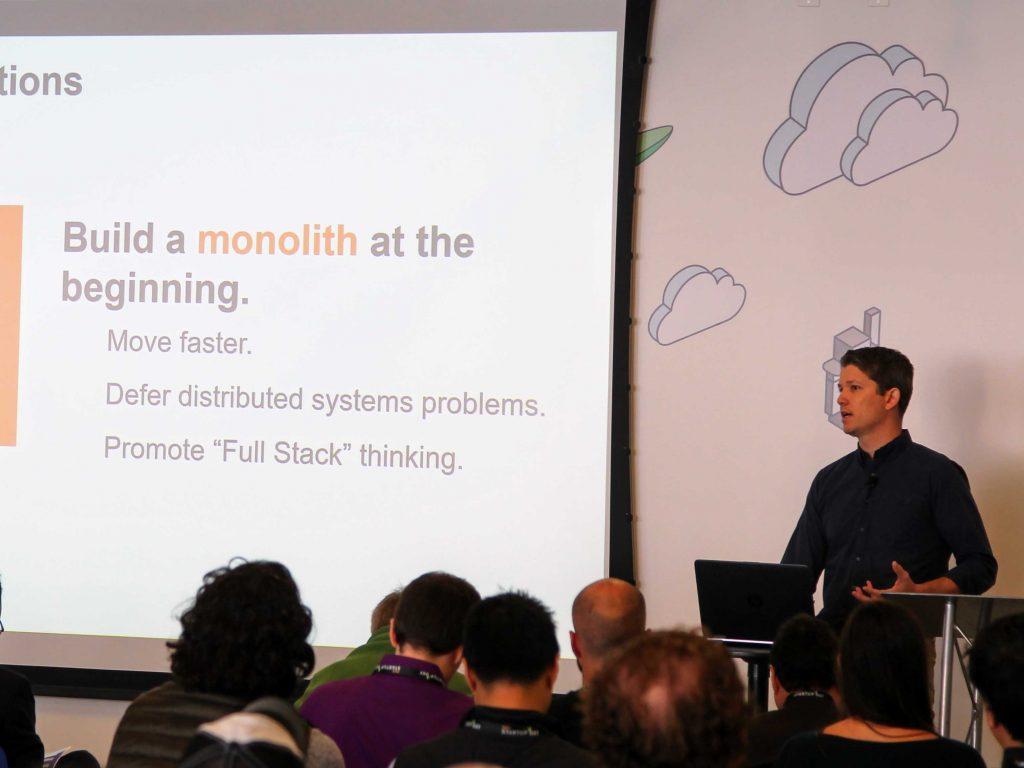 Dustin Lucien speaks to entrepreneurs at AWS Startup Day.
