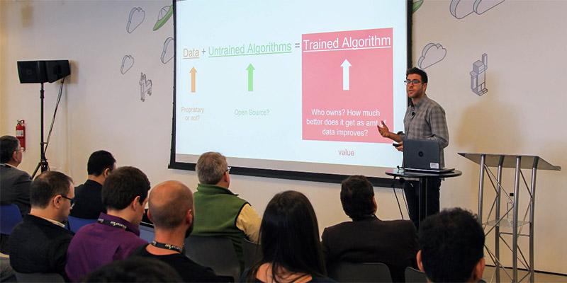 Matt Hartman of Betaworks speaks at AWS Startup Day in New York.