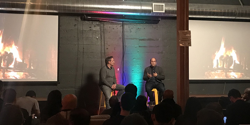 Josh Elman of Greylock Partners talks to AWS's Adam FitzGerald during a State of Startups Event at the AWS Loft in SF.