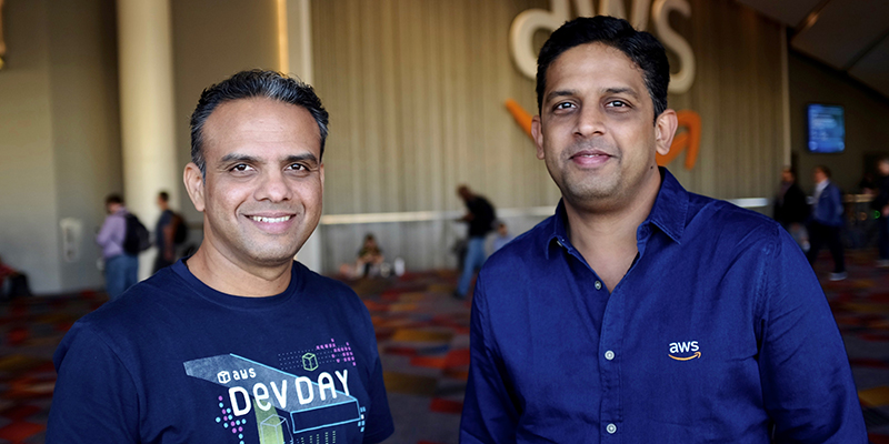 AWS Solutions Architects Santanu Dutt and Anand Iyer at ReInvent 2018