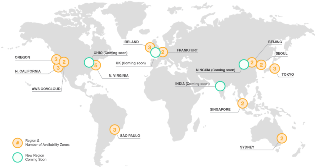 Map of AWS Availability Zones