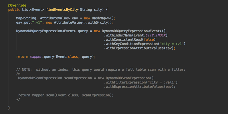 DynamoDBEventDao class API call