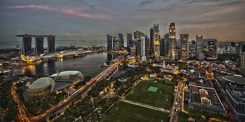 Nighttime aerial view of Singapore