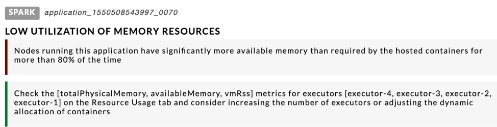 Memory utility example of how Unravel Data provides optimization suggestions, insights, and recommendations around resource consumption