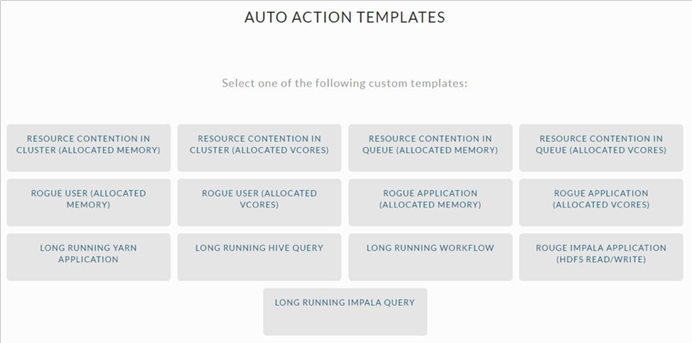 Examples of Unravel Data's auto-action templates