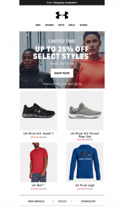 Under Armour Product Recomendations