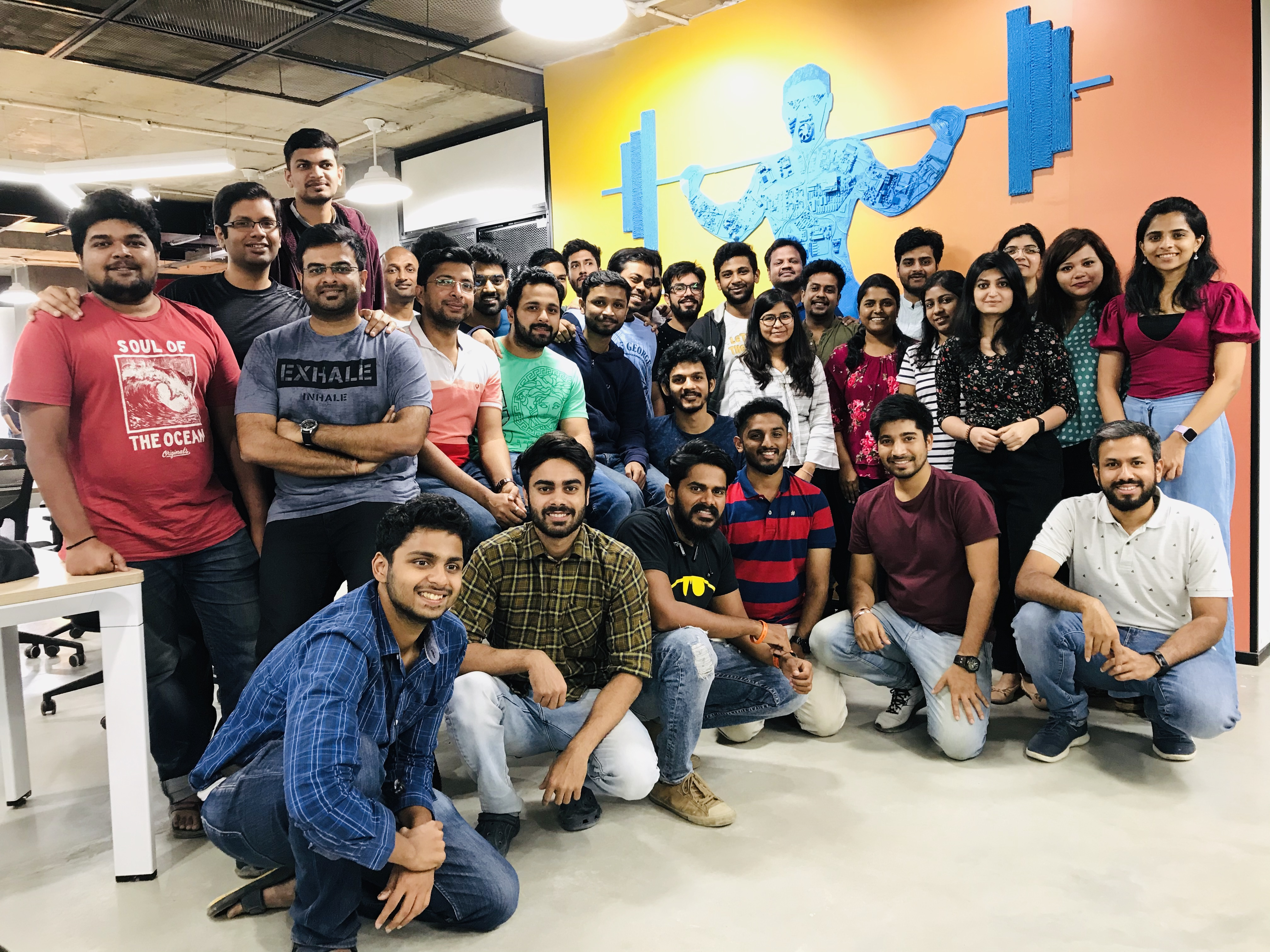 team photo of indian health and fitness app startup cure.fit