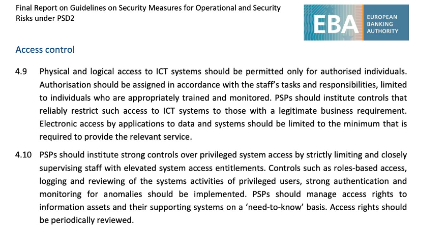 Example of the guidelines from the EBA on monitoring