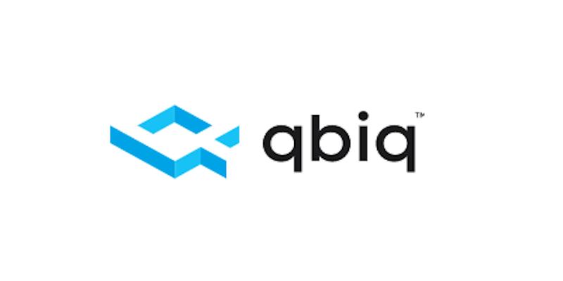 blue and black QBIQ logo on white background