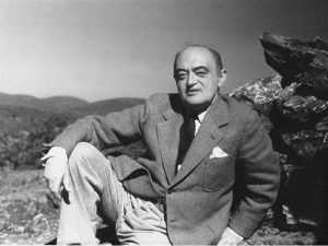 Black and white photograph of Austrian economist Joseph Schumpeter
