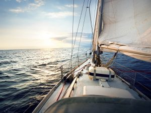 View from a sailboat titled by the wind