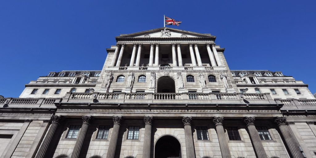 Exterior view of the Bank of England