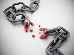 A picture of a chain with a broken red link