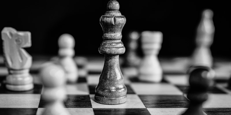 Black and white picture of a chess board