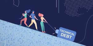 "Illustration of several people dragging a large weight labeled ""technical debt"" up a hill"
