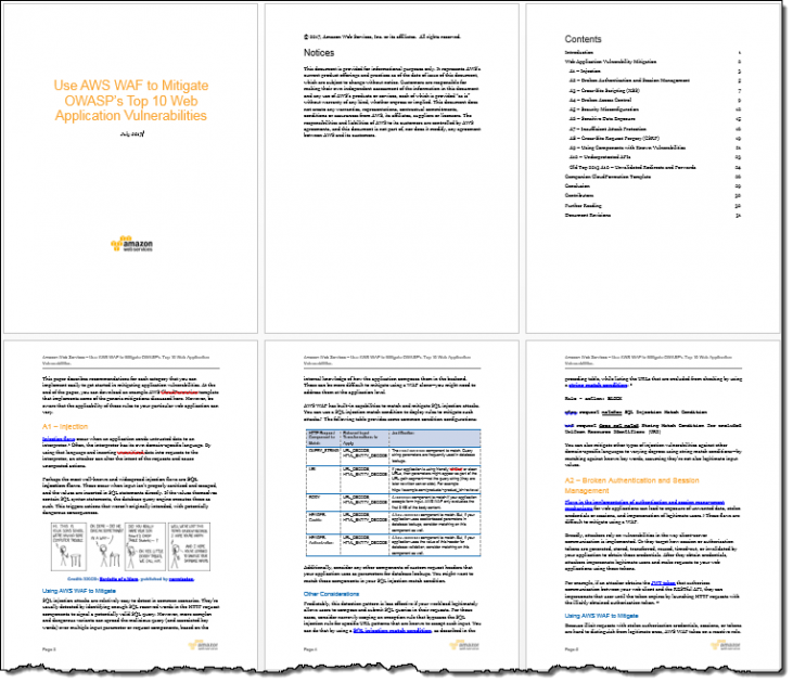 Prepare for the OWASP Top 10 Web Application Vulnerabilities Using AWS WAF and Our New White Paper | Amazon Web Services