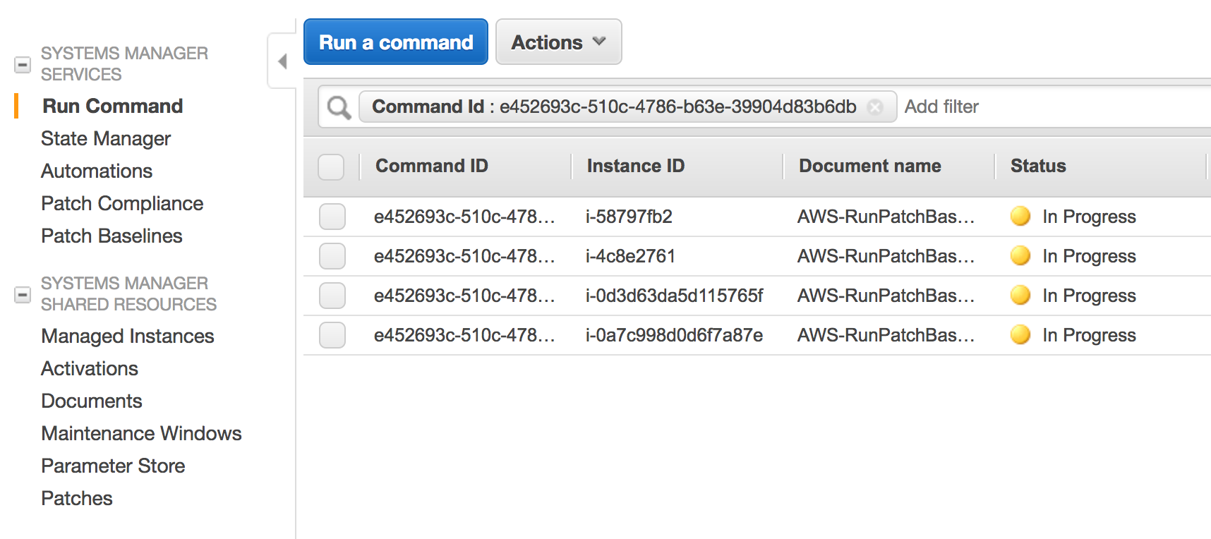 Next i can run the aws runpatchbaseline ssm run command in scan mode to generate my patch baseline data