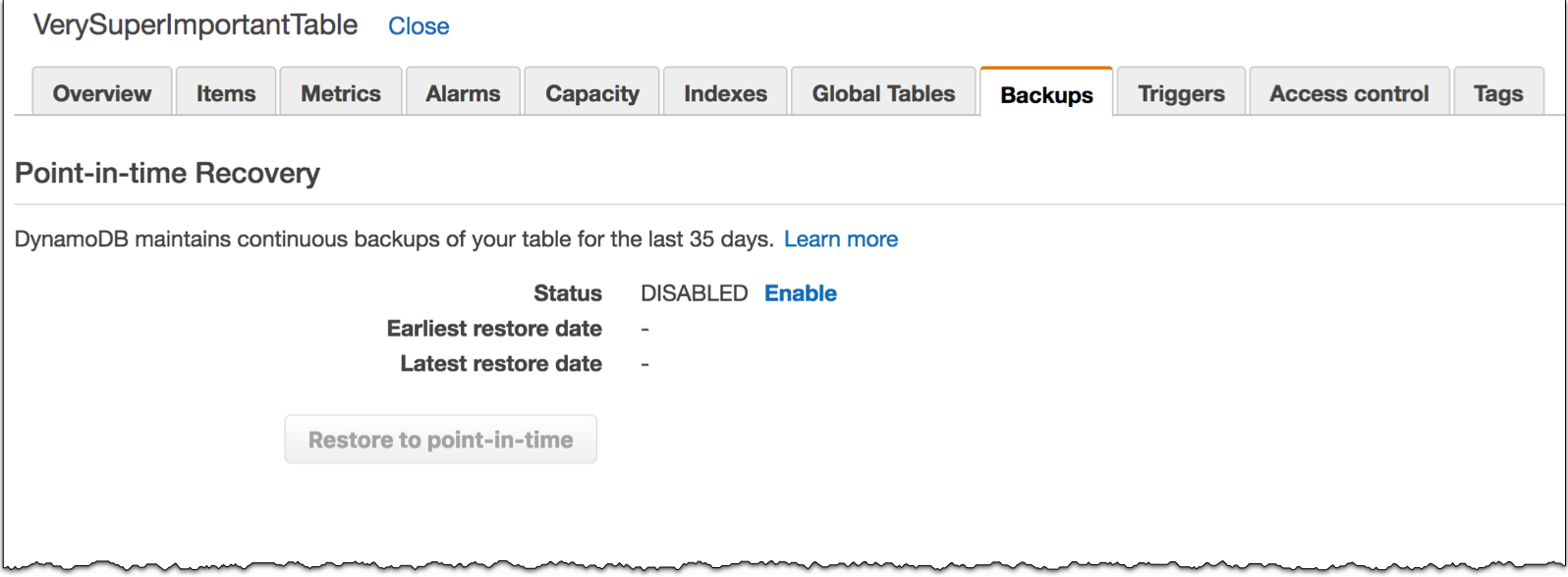 Baking Clouds - New – Amazon DynamoDB Continuous Backups and Point-In-Time Recovery (PITR)