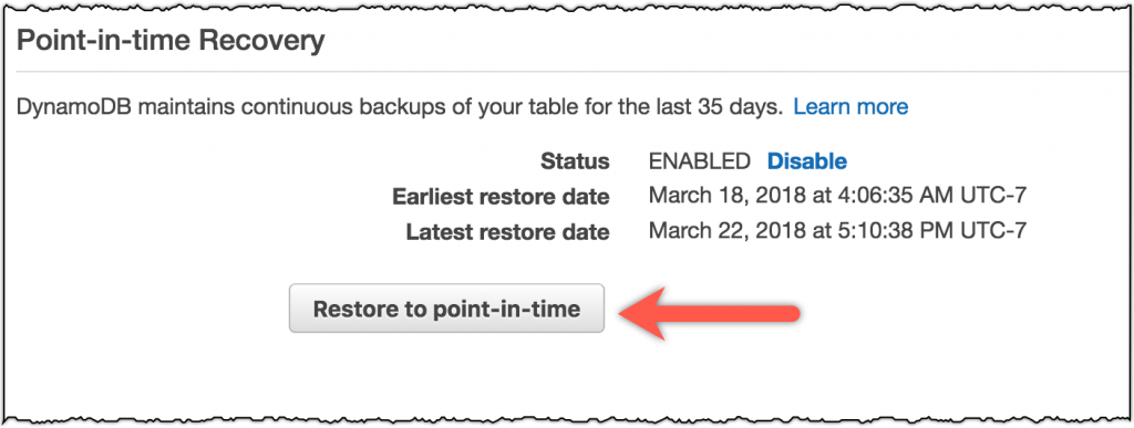 Amazon DynamoDB Continuous Backups and Point-In-Time Recovery (PITR)