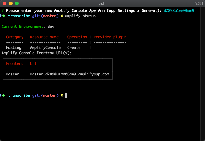 A screenshot of a terminal window where the app ARN is being set