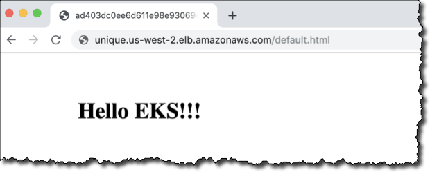 A Website saying Hello EKS