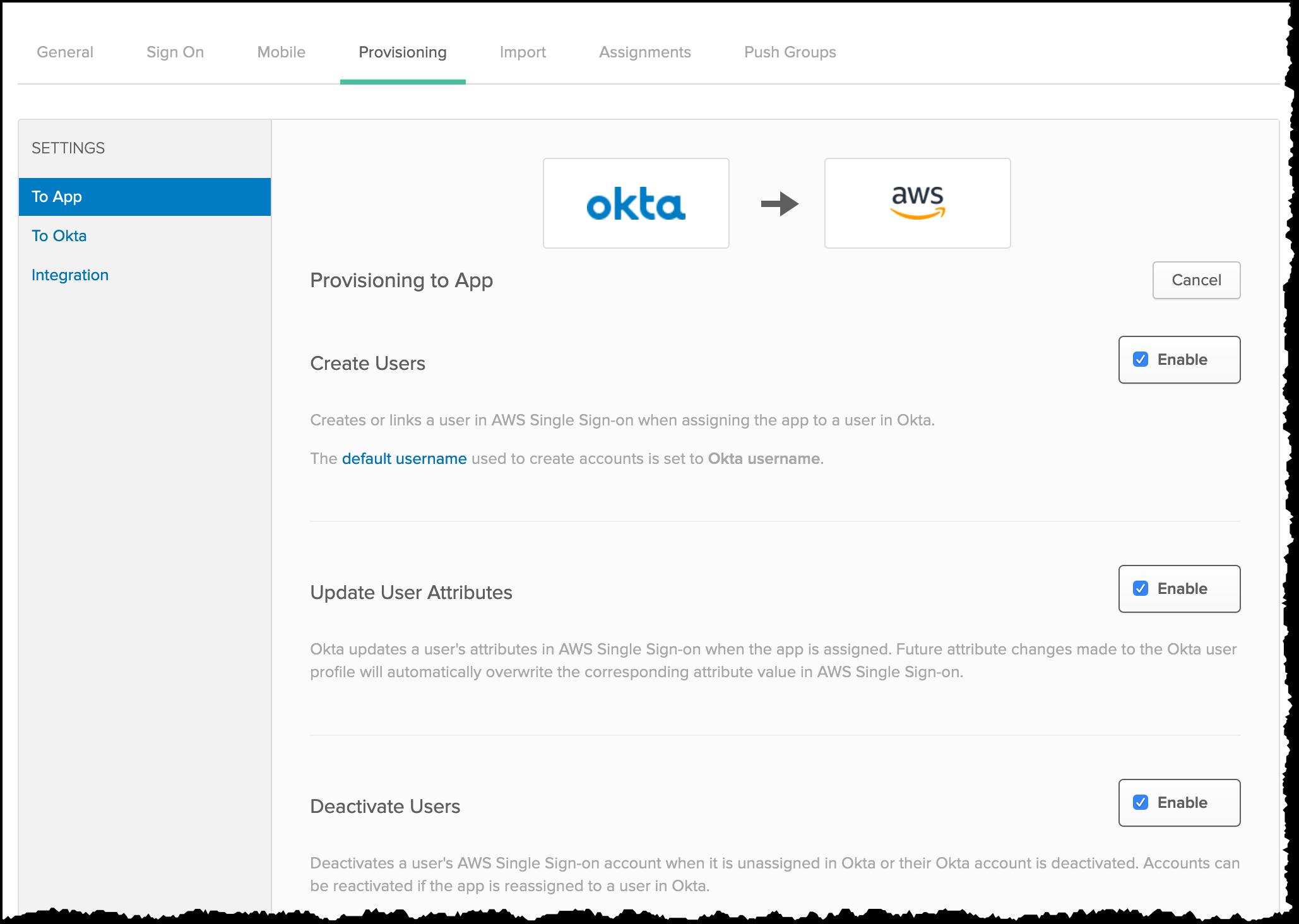 Okta 预置至应用程序