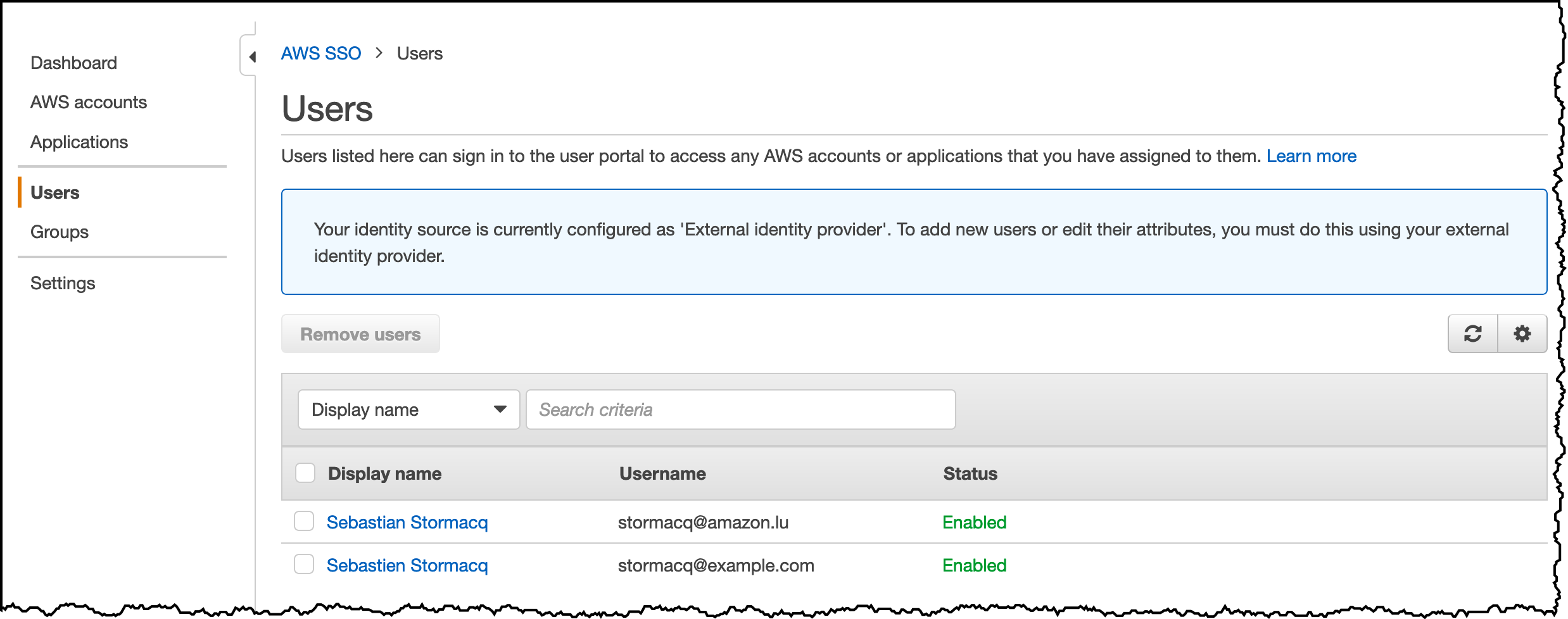 AWS SSO User View