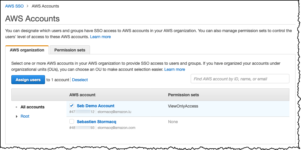 AWS SSO Select AWS Account