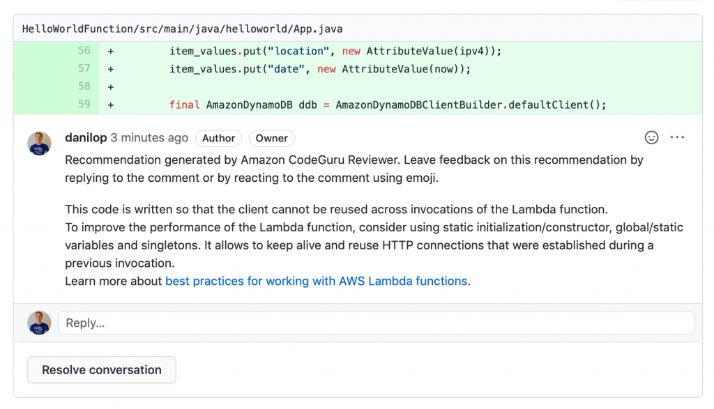 github code review recommendation