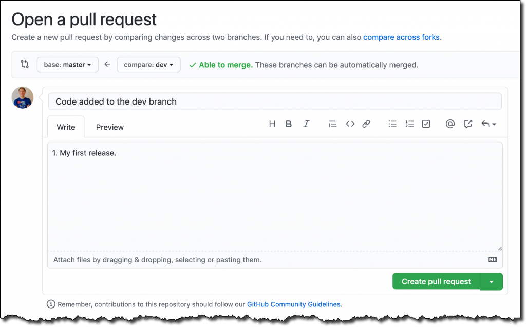 github open pull request