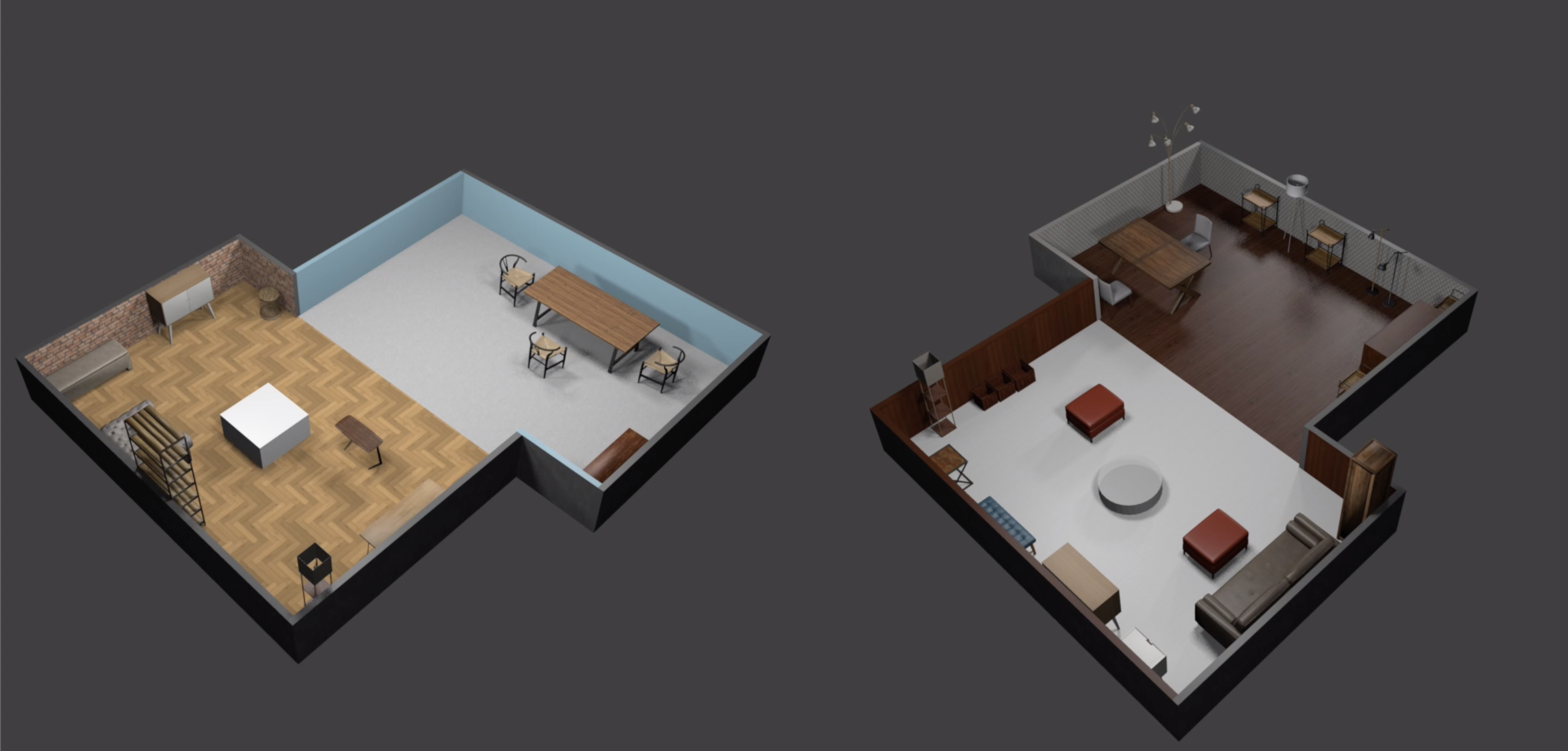 A side by side comparison of two different room configurations with AWS World Forge