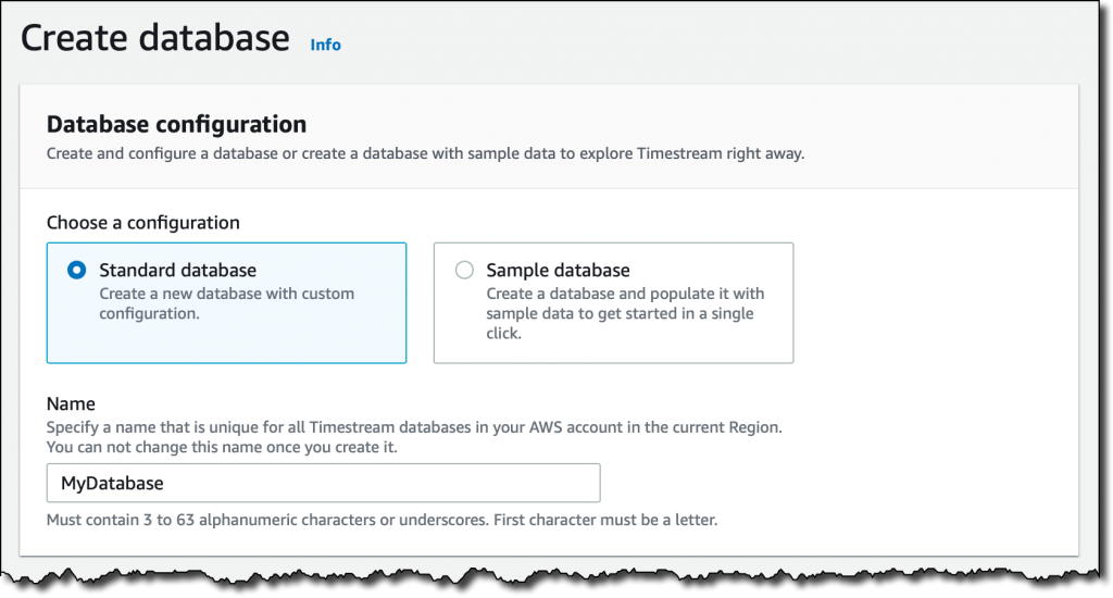 amazon timestream create database